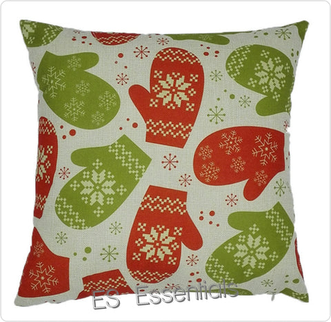 "Cotton Linen Decorative Pillow case 18"" Christmas Gloves"