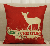 "Cotton Linen Decorative Pillow case 18"" Christmas Deer"
