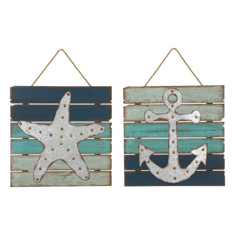 ESE natucial Wooden/Galvanized Anchor/Starfish Wall Decor 14""
