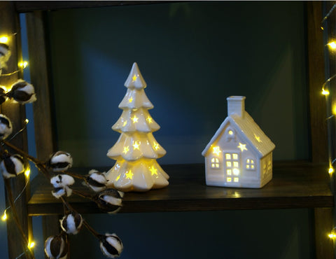 led lighted house 55 tree 85 white christmas ceramic decoration