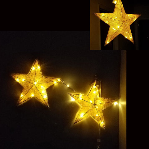 ESE LED Lighted Christmas pre-lit 3-D Hanging  twinkle star, Sparkling, Gold 23.5""