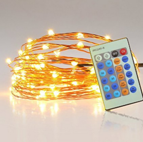 ESE 33ft 100 LEDs Fairy Wire String Lights, Remote control(warm white, cool white,Blue)