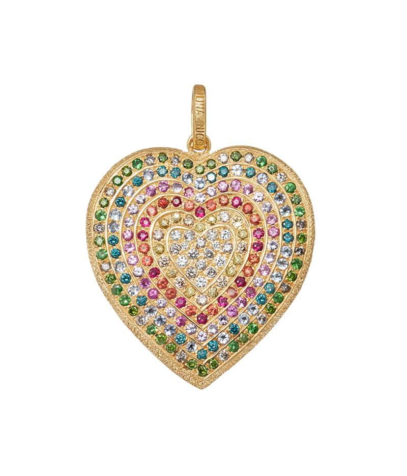 Carolina Bucci Rainbow Pavé Heart Pendant in 18k Yellow Gold
