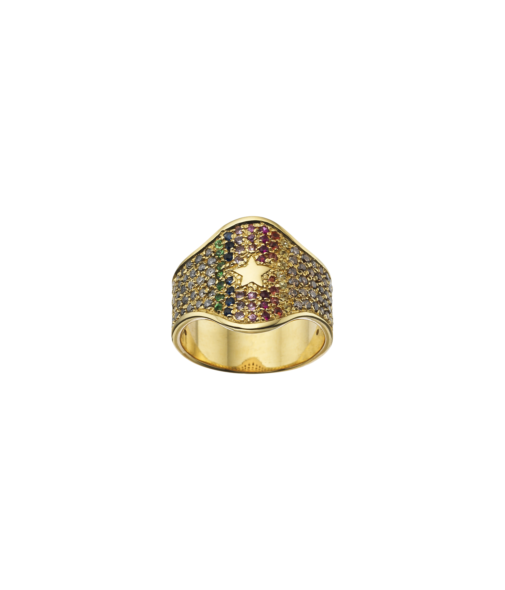 Carolina Bucci Rainbow Pavé Shield Ring