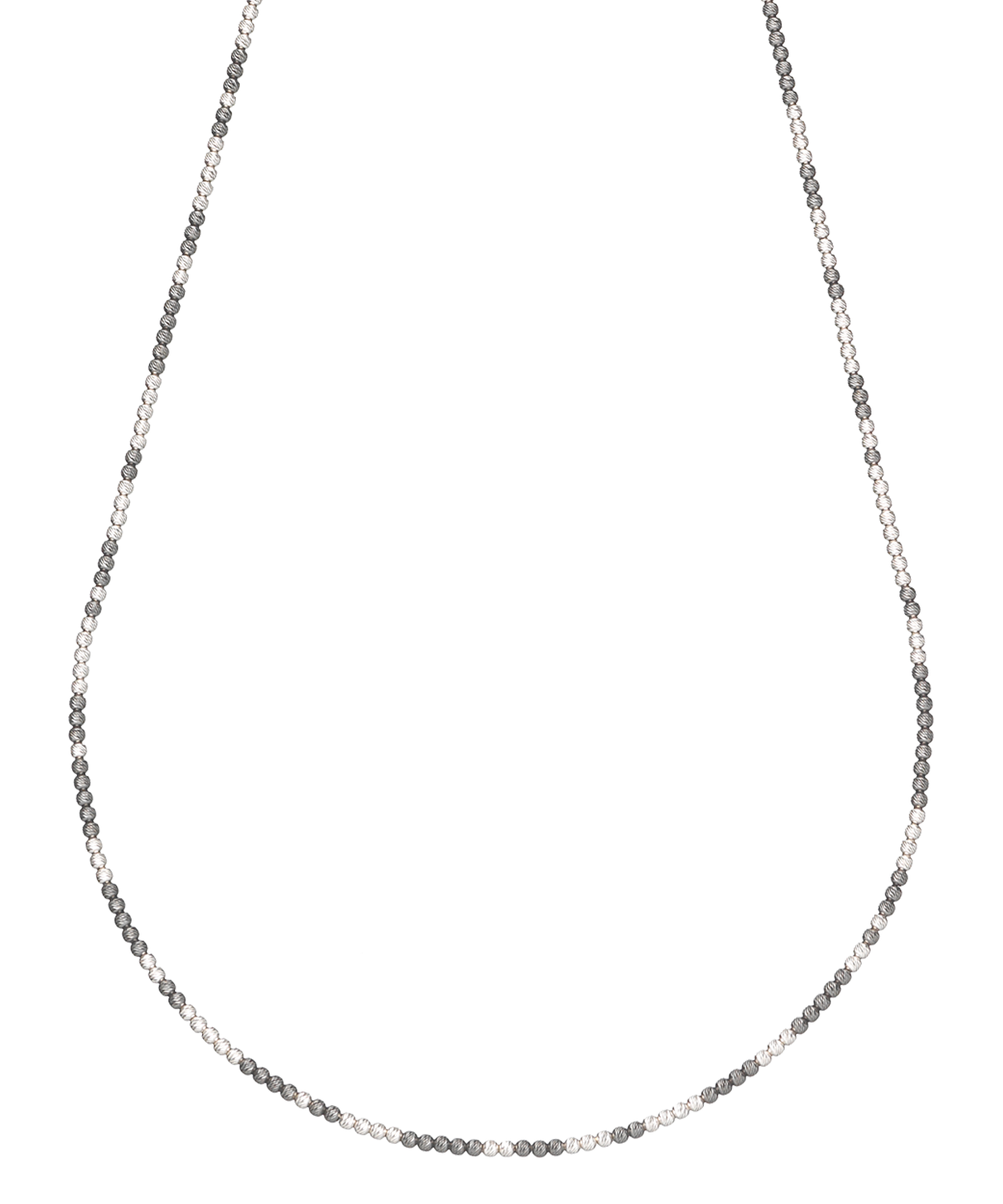 Long Discoball Necklace 18k White and Black Gold