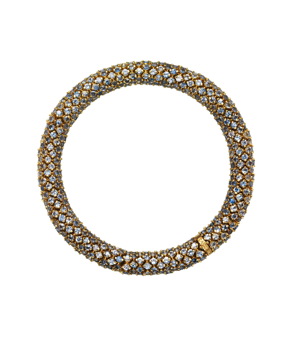 Carolina Bucci Thick Pavé Twister Luxe Bracelet Yellow Gold and Light Blue Sapphires
