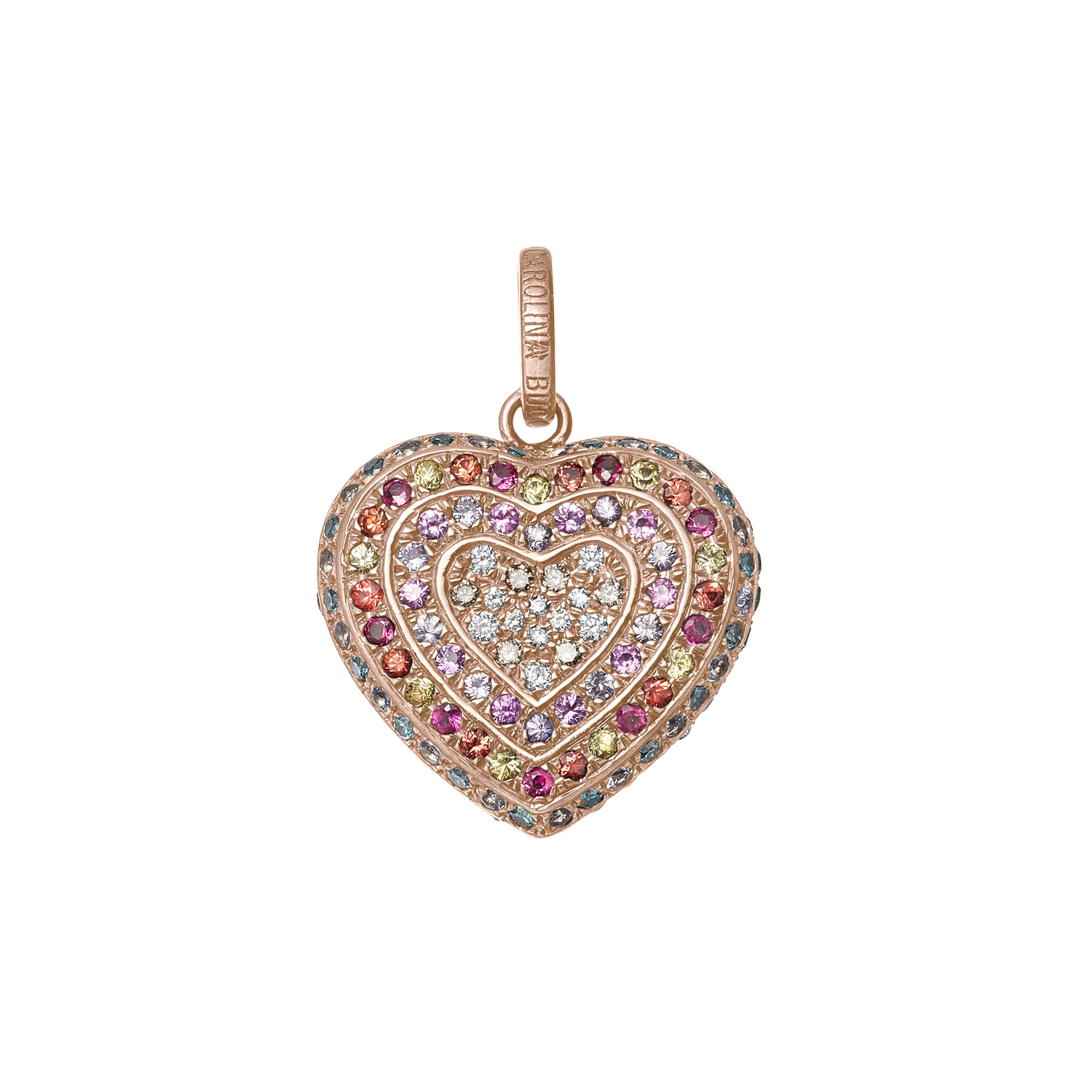 Rainbow Pavé Small Cuore Pendant in Pink Gold