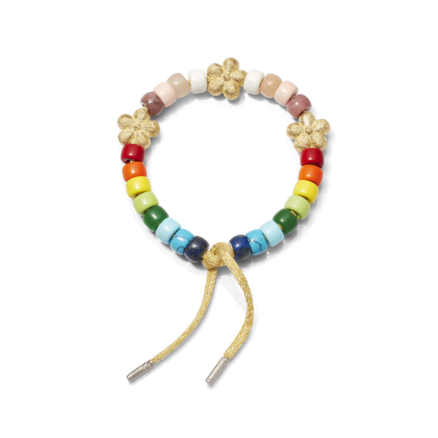 Carolina Bucci Forte Beads Rainbow Bracelet with Flower Beads