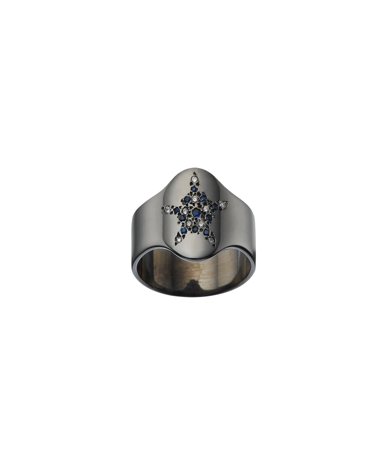 Shiny Shield Ring with Pavé Star