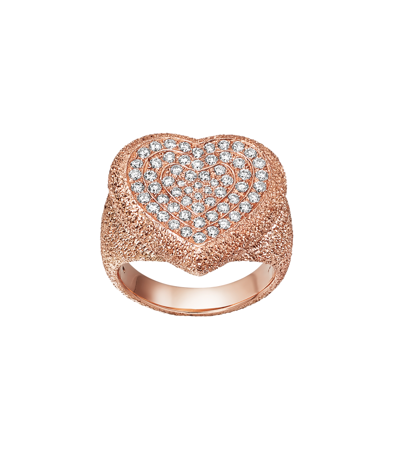 Carolina Bucci Pavé Cuore Ring with White Diamonds