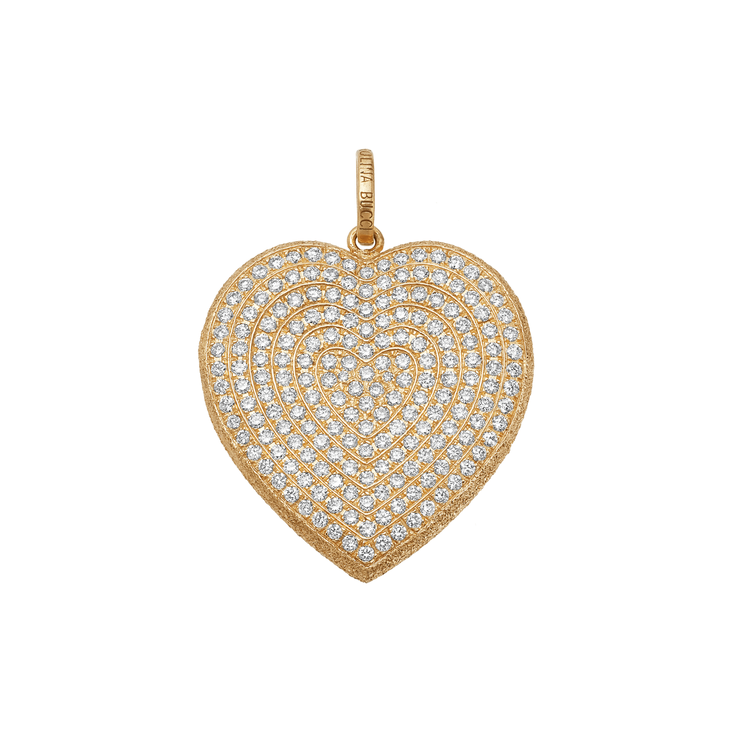 Carolina Bucci Diamond Pavé Heart Pendant in 18k Yellow Gold