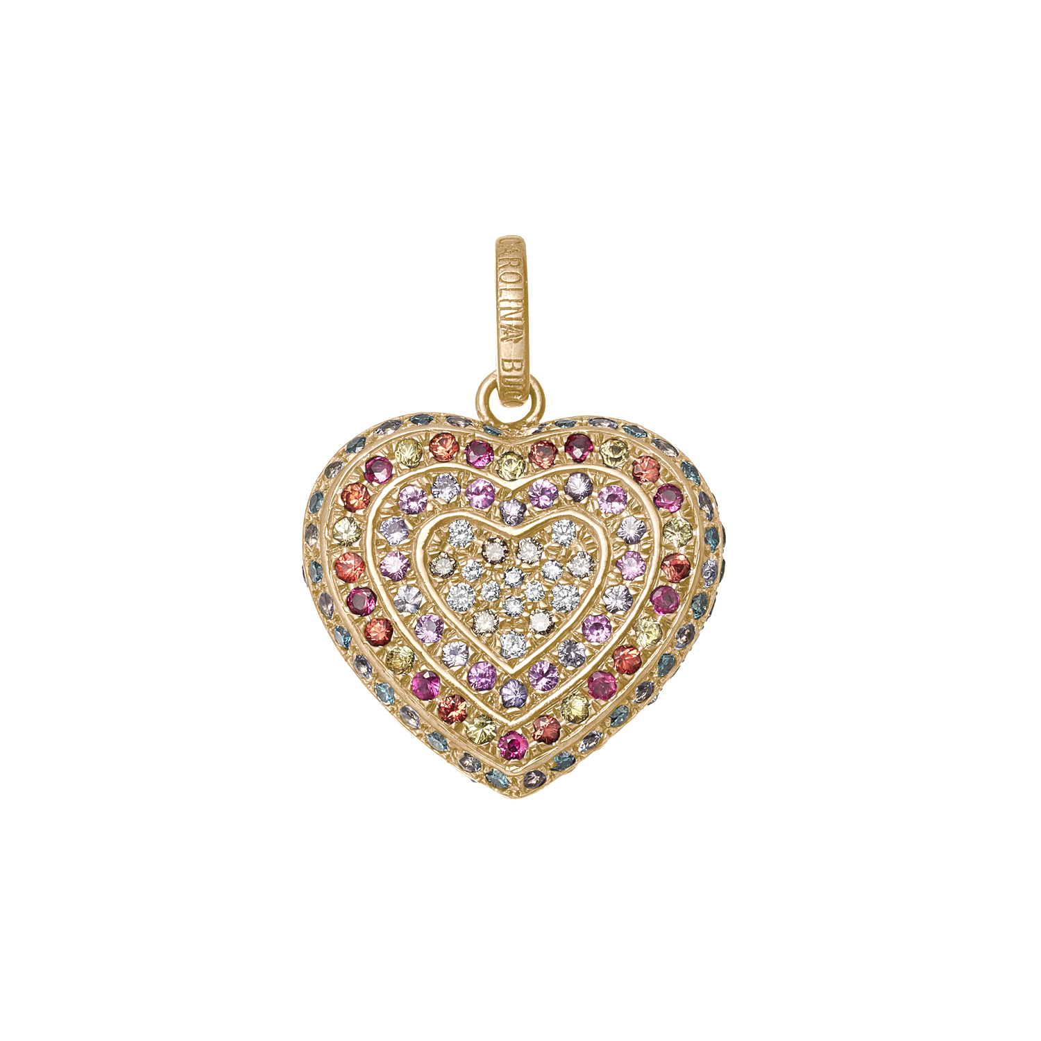 Rainbow Pavé Small Cuore Pendant in Yellow Gold