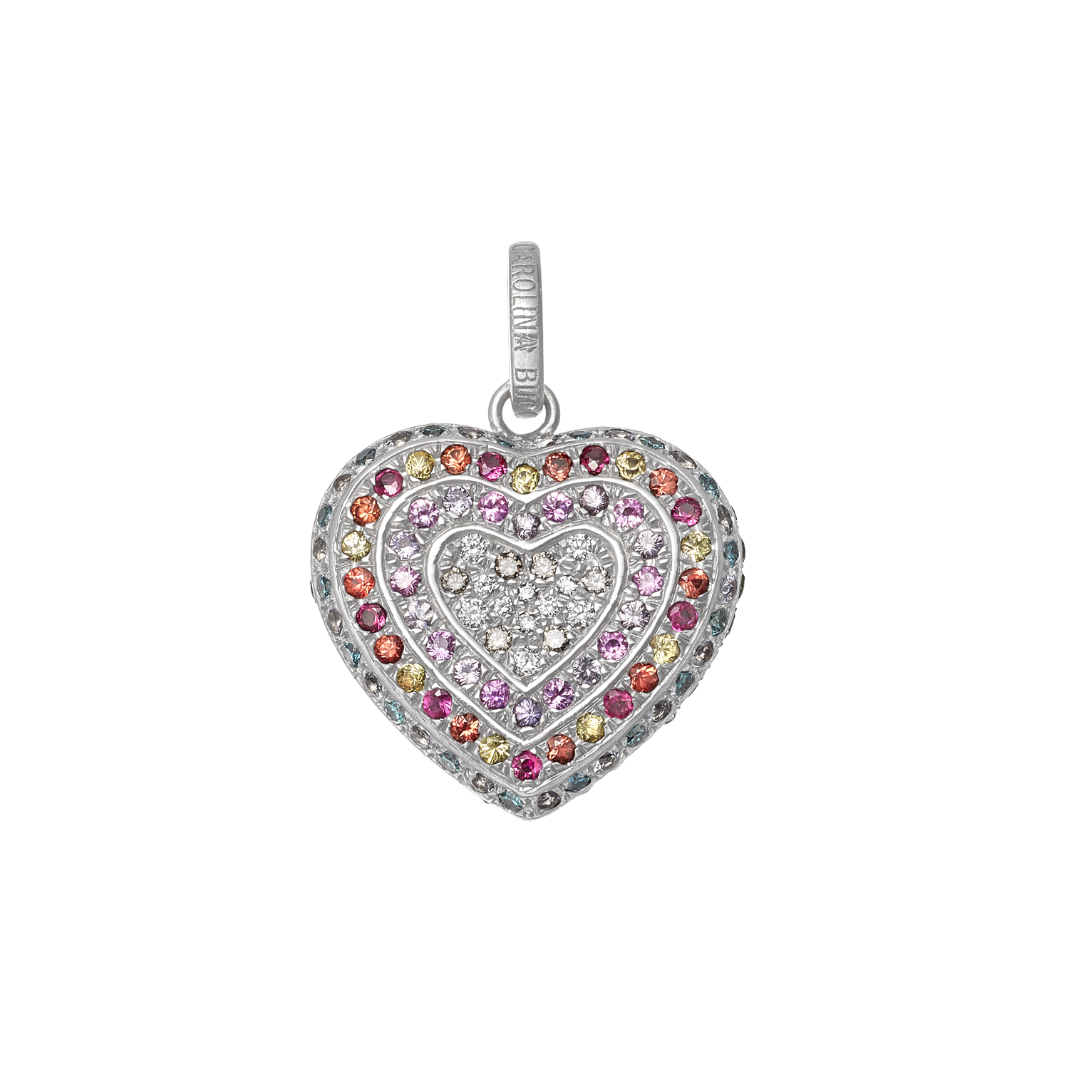 Rainbow Pavé Small Cuore Pendant in White Gold