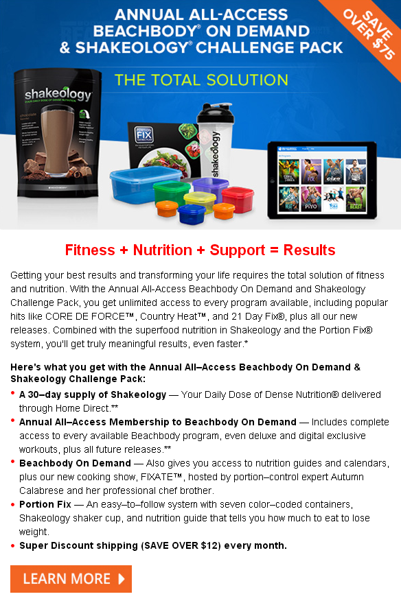Annual All-Access Beachbody On Demand and Shakeology Challenge Pack