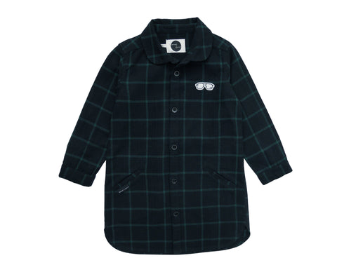 Shirt Dress 'Check Black & Forrest Green'