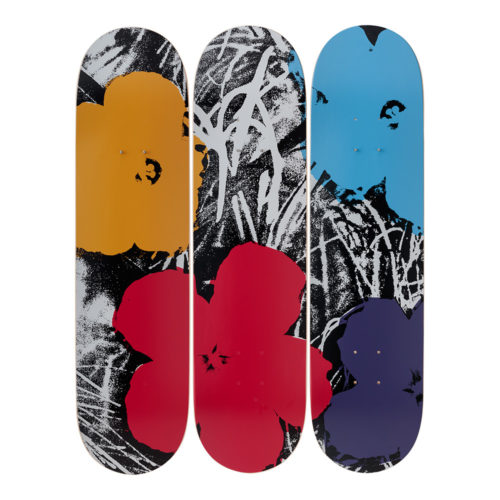 Andy Warhol-Flowers-Grey/Red-Skateboards - aptiques by Authentic PreOwned