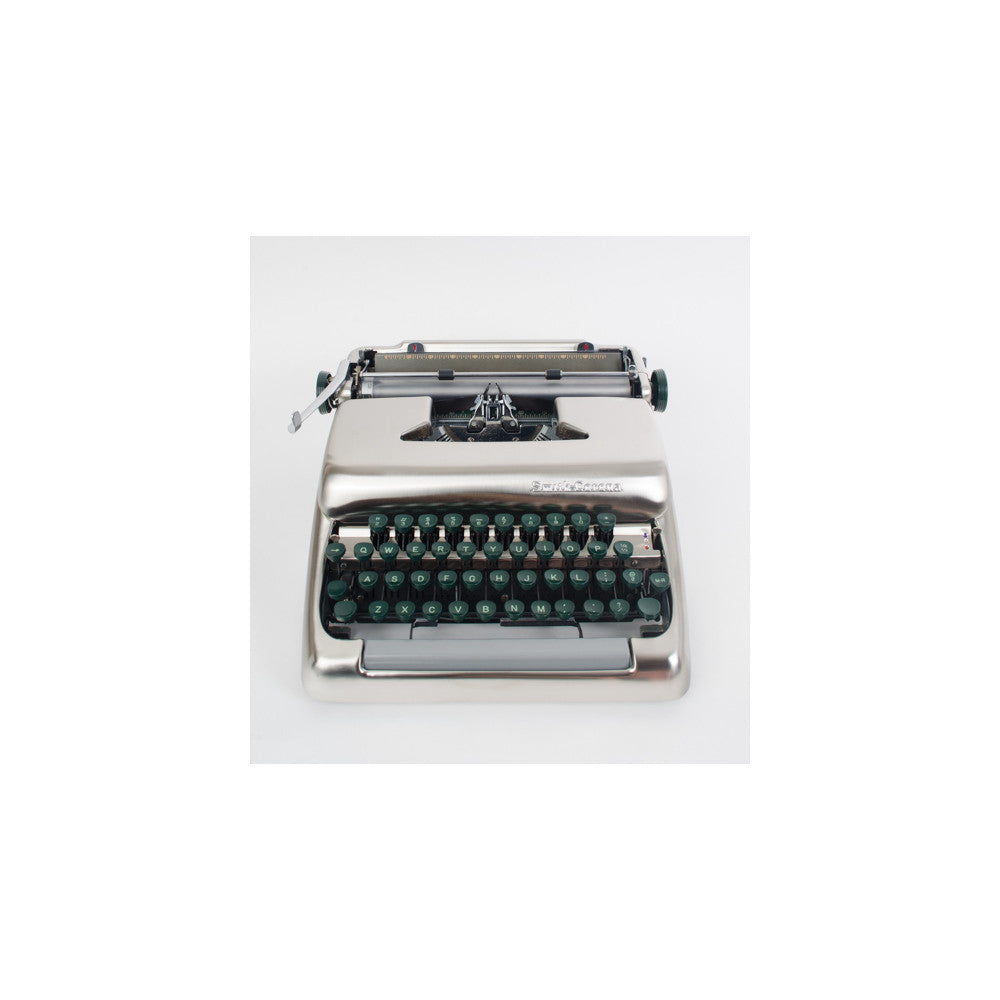 1955 Smith Corona Silver Brushed Nickel Typewriter - aptiques by Authentic PreOwned
