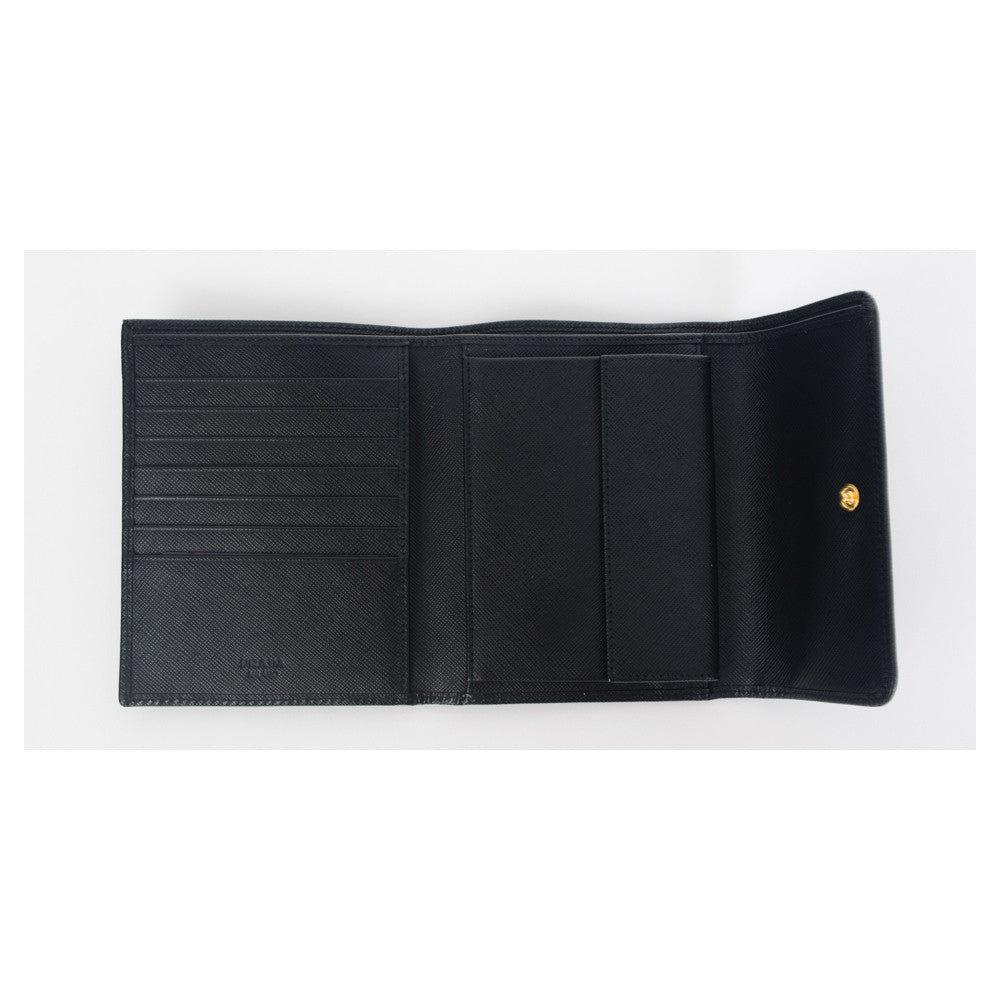 Prada Saffiano French Wallet Black