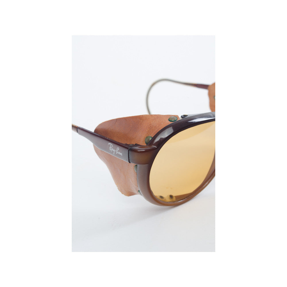 Ray Ban Vintage Leather Aviator Sunglasses