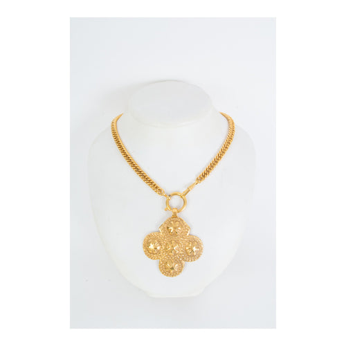 Chanel Gold Tone Clover Motif Necklace