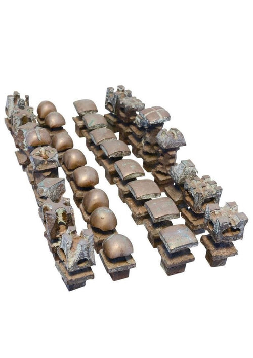 Modernist Brutalist Bronze Chess Set - aptiques by Authentic PreOwned