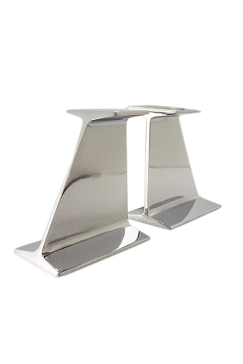 Vintage Chromed I BEAM Bookends - aptiques by Authentic PreOwned