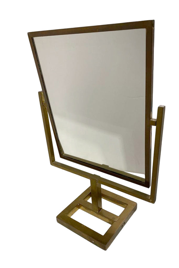 Mid Century Brass Over the Counter Mirror - aptiques by Authentic PreOwned