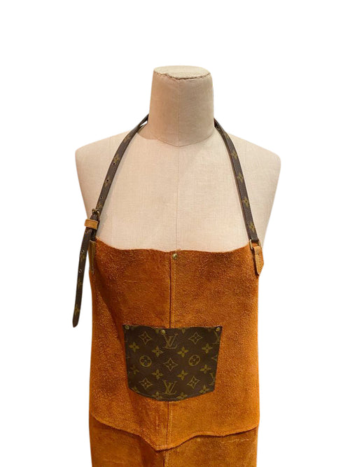 Custom Suede Apron with Louis Vuitton Accents - aptiques by Authentic PreOwned