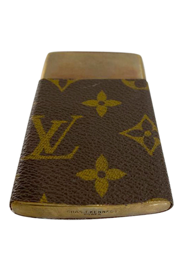 Custom Brass Card Case with Louis Vuitton cover - aptiques by Authentic PreOwned