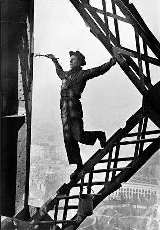 "Marc Riboud ""Eiffell Tower Painter""  1953 - aptiques by Authentic PreOwned"
