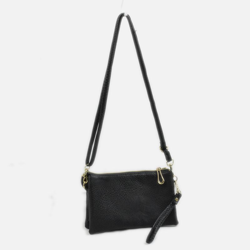 Large Wristlet with Convertible Cross Body Strap - Black