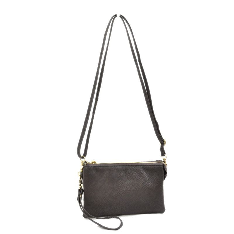 Large Wristlet with Convertible Cross Body Strap - Coffee