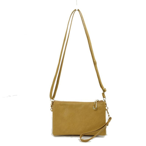Large Wristlet with Convertible Cross Body Strap - Mustard