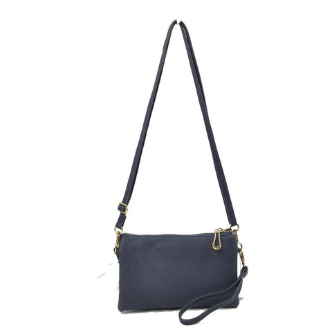 Large Wristlet with Convertible Cross Body Strap - Navy