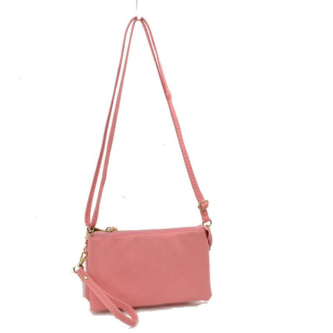 Large Wristlet with Convertible Cross Body Strap - Pink