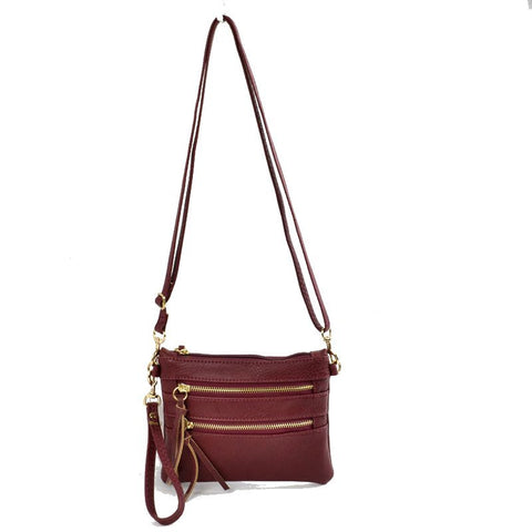 Wristlet with Convertible Cross Body Strap - Burgundy
