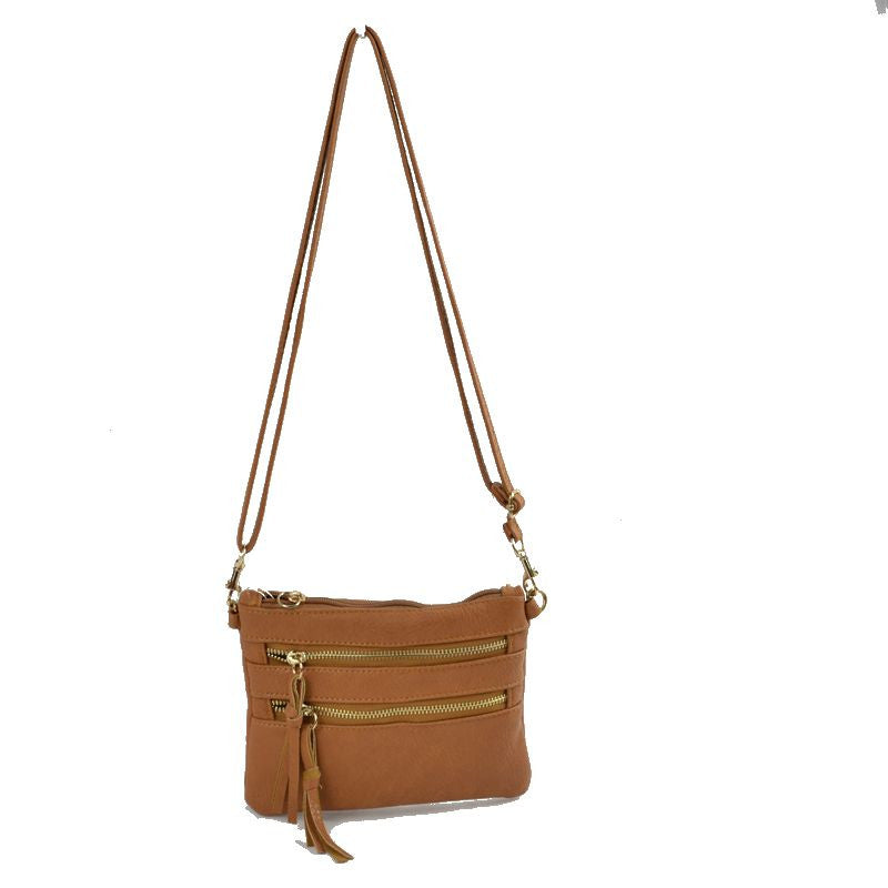 Wristlet with Convertible Cross Body Strap - Brown