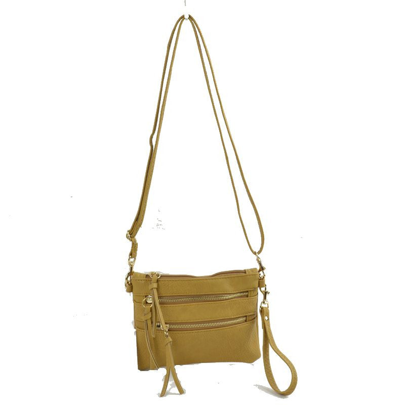 Wristlet with Convertible Cross Body Strap - Mustard