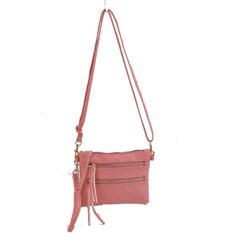 Wristlet with Convertible Cross Body Strap - Pink