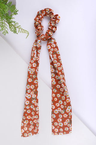 Floral II Ribbon Scrunchie in Rust