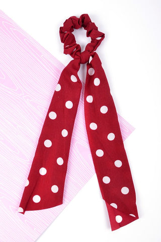 Polka Dot Ribbon Scrunchie in Burgundy