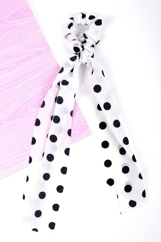 Polka Dot Ribbon Scrunchie in White