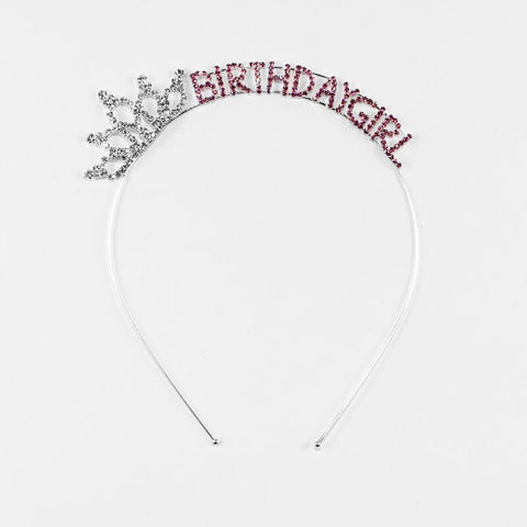 Birthday Girl Headband with Crown Fuchsia