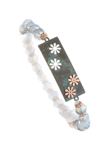 Patina Floral Bar Stretch Bracelet