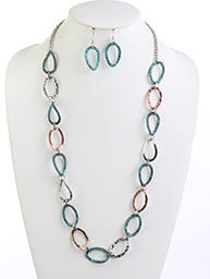 Patina Multi Hammered Metal Long Necklace & Earring Set