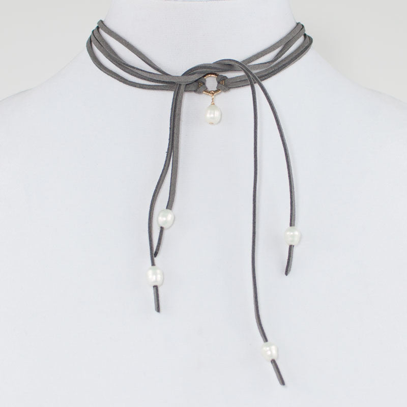 Grey Leather and Pearl Wrap Choker Necklace