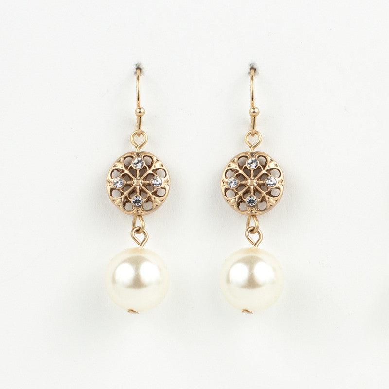 Pearl & Crystal Filigree Drop Earrings