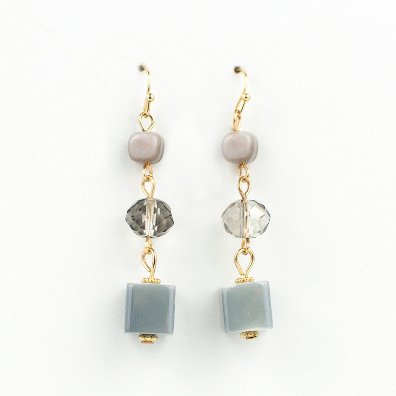 Grey Cube Bead Earrings