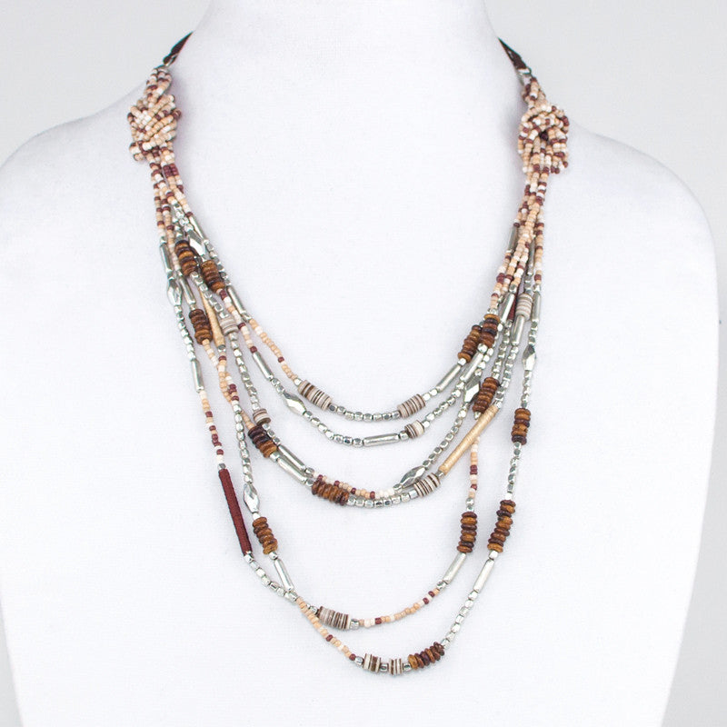 Metal & Multi Brown Bead Layered Necklace