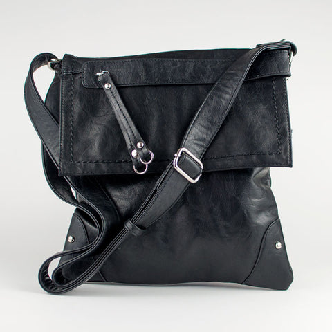 Zip Front Cross Body Purse - Black